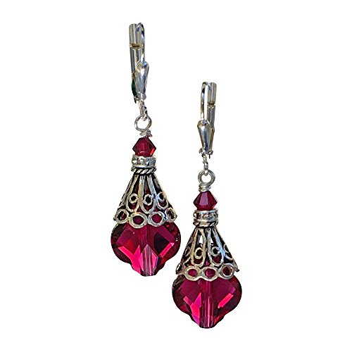 HisJewelsCreations Vintage Inspired Romantic Red Baroque Earrings with Crystal from Swarovski