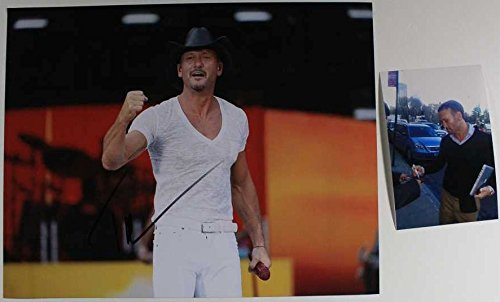 - Tim McGraw Signed Autographed Color Glossy 11x14 Photo w/ Proof Photo