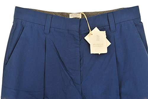 44 It Pantalon Coupe Cucinelli Femme Brunello Normale Cotton Taille Régulière Bleu wqCUxnA4