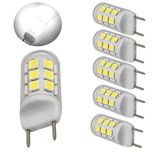 Price comparison product image Ulight G8 led bulbs dimmable 35W 40W 45W halogen bulbs replacement 400 lumens, 110V 120V jcd g8 gy8.6 light bulb led Daylight white under cabinet light and puck lights,  pack of 5 (Daylight White 6000K)