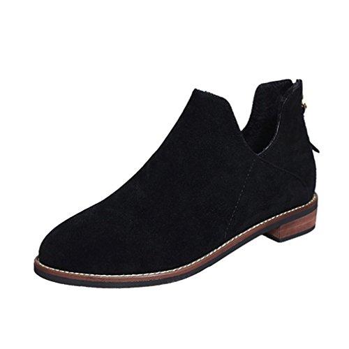 KaiCran Women Winter Boots Women Buckle Boots Ladies Faux Zip Warm Boots Ankle Boots Martin Shoes Black