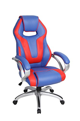 41lqbmwB4aL - VIVA OFFICE High Back Bonded Leather Racing Style Gaming Chair with Padded Headrest,Red and Blue