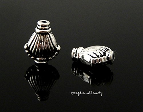 Silver 11mm Beaded Clam Shell Spacer Accent Metal Beads ()