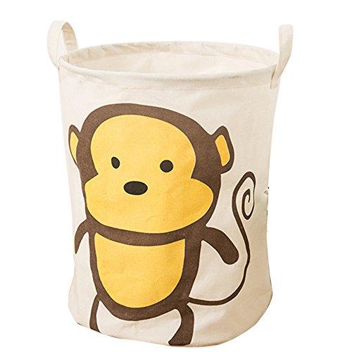 Laundry Hamper, Didihou Cotton & Linen Drawstring Waterproof Collapsible Laundry Basket Storage for Bedroom Nursery Dorm or Closet (Monkey)