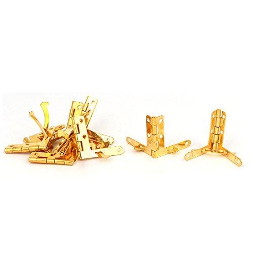 DealMux Jewelry Wine Box Wooden Case 33mmx30mmx3mm Foldable Iron Quadrant Hinge Gold Tone 10pcs