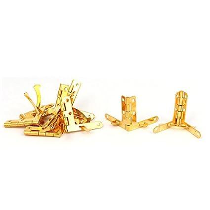eDealMax vino de la caja de joyería caja de madera plegable 33mmx30mmx3mm Hierro Cuadrante Bisagra tonos oro 10pcs - - Amazon.com