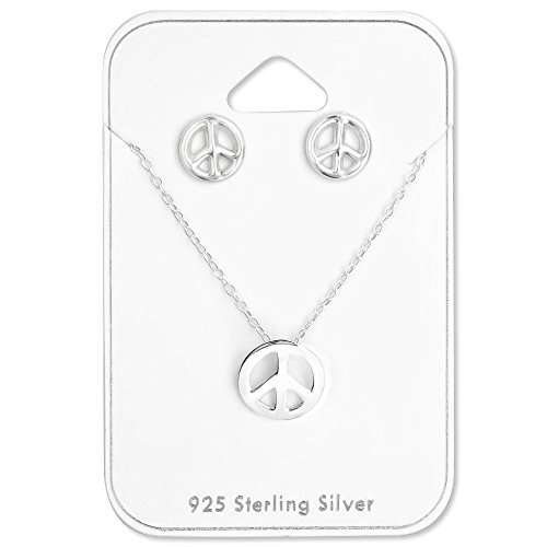 Happiness Collection Peace Sign - 925 Sterling Silver Peace Sign Necklace & Stud Earrings Set 28954