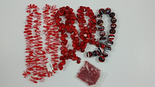 Unbranded Red Simulated Beads; 1 Pkg. of 5 Strands of Assorted Designs inc. 1 Pack of 55 Small Beads ()