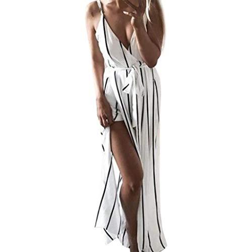 Zaidern Women Dress Sexy Women's V-Neck Signature Slit Stripe Dresses with Thin Shoulder Strap Black