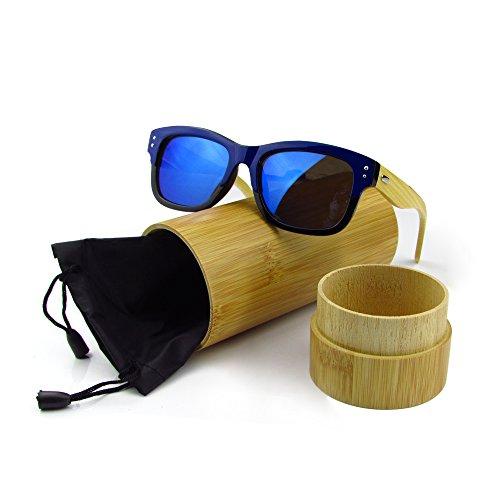 Bois Lunettes de soleil Mode pour hommes Bambou Lunettes de soleil Lunettes de soleil en bois avec Bamboo Case Plastic Frame juli 6919 zRNjn
