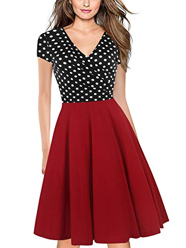 oxiuly Women's Vintage Dot V-Neck Cap Sleeve Casual Pockets Work Party Swing Summer Dress OX296 (XXL, BkDo-Red)