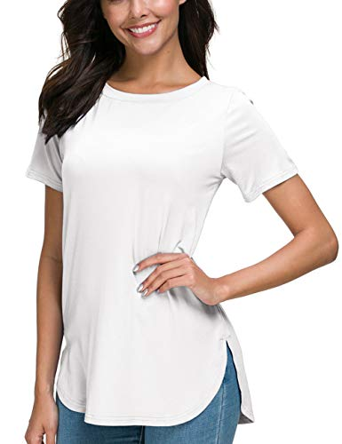 VOBCTTY Casual Short Sleeve Side Split Round Neck Loose Tops Tees for Women