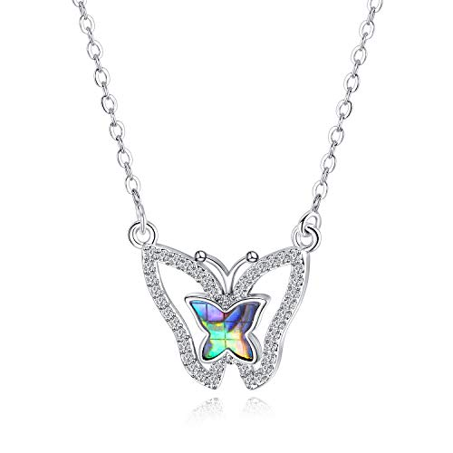 (Fashion Ahead Charm Platinum Plated Natural Shell Butterfly Necklace for Women with Micro CZ Crystals Pretty Jewelty Gift for Girls)