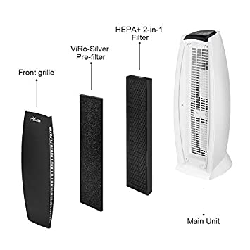 Hunter Air Purifier with Viro-Silver Pre-Filter and 2 in 1 HEPA Filter, Captures Allergens, Smoke, Odors, Mold, Dust, Germs, Pets, Mold, Smokers, Large and Medium Room Air Purifier Large