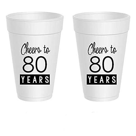 Amazon.com: 80th Cumpleaños tazas de poliestireno – Cheers a ...