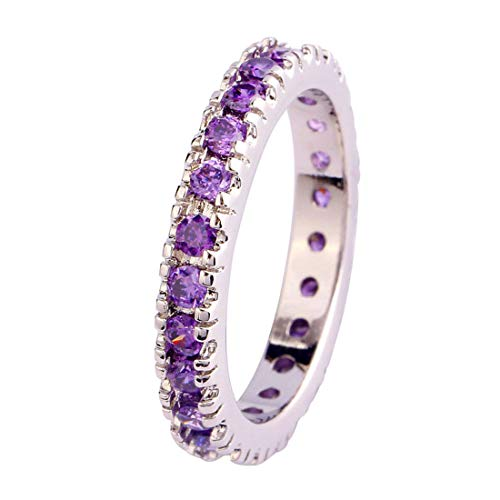 Humasol 925 Sterling Silver Filled Round Cut Lab-Created Amethyst Promise Band Engagement Ring for Women