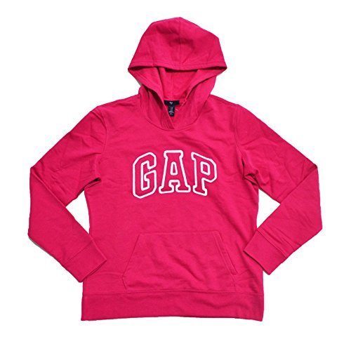 GAP Womens Fleece Arch Logo Pullover Hoodie (Bright Pink, Medium)