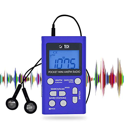 BTECH MPR-AF1 AM FM Personal Radio with Two Types of Stereo Headphones, Clock, Great Reception and Long Battery Life, Mini Pocket Walkman Radio with Headphones (Blue) (Fm Am Radio Headset)