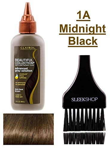 Clairol BEAUTIFUL COLLECTION Advanced Gray Solutions SEMI-PERMANENT Hair Color Dye (w/Sleek Tint Brush) No Ammonia No Peroxide Haircolor Moisture Shine Grey (1A - Midnight Black)