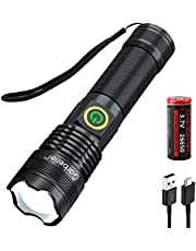 HECLOUD 5000 High Lumens Flashlight,LED Rechargeable Torch Light Super Bright XHP70.2 Chip,IP65 Waterproof, Zoomable,3-Modes with 26650 Battery and USB Charger for Hiking Camping Outdoor Emergency