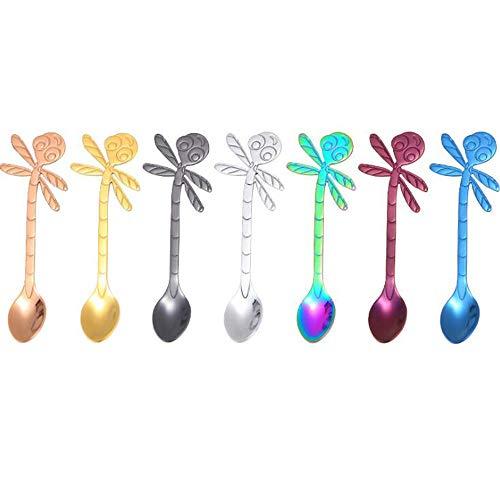Stainless Steel Cute Mermaid Flower Spoons for Coffee Tea Dessert Drink Sugar Cake Spoon Tableware for Tea Parties (7 Pcs Dragonfly)