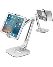"""AboveTEK Long Arm Aluminum Tablet Stand, Folding iPad Stand with 360° Swivel iPhone Clamp Mount Holder, Fits 4-11"""" Display Tablet/Phones for Kitchen Table Bedside Office POS Kiosk Reception White"""