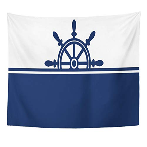 (Semtomn Tapestry Artwork Wall Hanging Blue White Navy Ship Wheel Nautical Sailing Nantucket England 60x80 Inches Home Decor Tapestries Mattress Tablecloth Curtain Print)