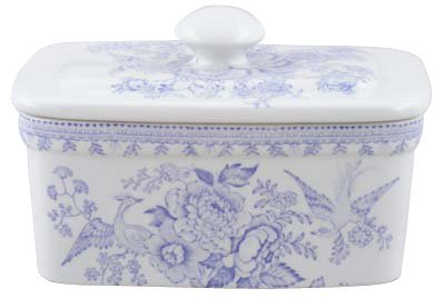 Burleigh Blue Asiatic Pheasants Butter Dish with Cover Burgess & Leigh