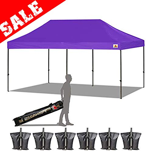 ABCCANOPY 18+ Colors 10x20 Pop up Tent Instant Canopy Commercial Outdoor Canopy Wheeled Carry Bag Bonus 6X Weight Bag (Purple)