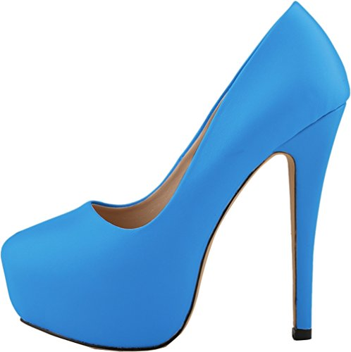 CFP YSE-817-1YG Womens Leisure Lightweight Sweet Dating Office Thick Platform Round Toe Wedding Party Cozy Spotlight Stiletto High Heel Pretty Shoes Shallow Mouth Seasonless Blue zcfVTFE7f