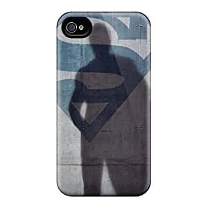 Scratch Resistant Hard Phone Case For Apple Iphone 4/4s (EZY1014YPUj) Unique Design Colorful Smallville And Superman Image