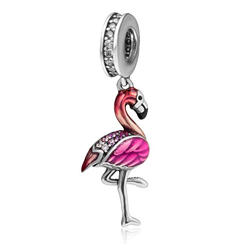 Flamingo Beads Charm 100% Authentic 925 Sterling Silver Bird Beads fit for DIY Charm Bracelet & (Authentic Pandora Bead)