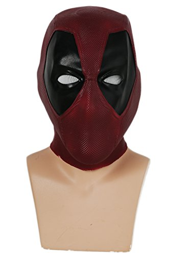 Deadpool Adult Mens Costumes (Wade Mask Helmet Movie Vesion Latex Full Head Face Mask Cosplay Props XCOSER,V4 Latex Normal size)
