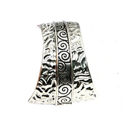 2pcs Scarf Alloy Silver Tone Cuntry Style Slide Pendant Scarf Accessories Tube Slide Pendant