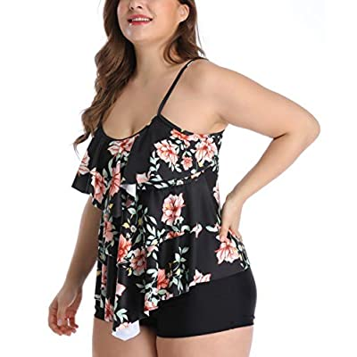 B2prity Women Tankini Set Plus Size Swimwear Flounce Printed Two Piece Swimsuits Tummy Control: Clothing