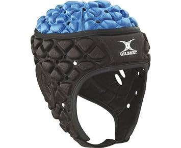 GILBERT Xact Casco Rugby, Negro/Azul, XL