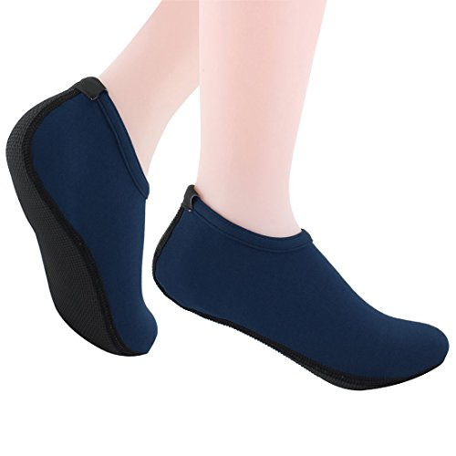Nlife Barefoot Water Shoes Aqua Socks For Beach Surf Pool Swim Yoga Aerobics (Men & Women, M -XXXL) Navy Blue