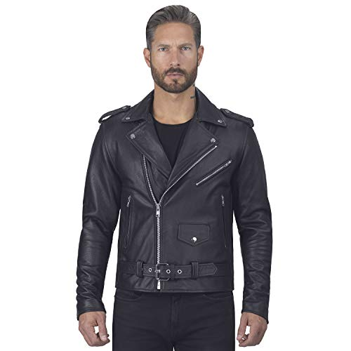 Viking Cycle Angel Fire Premium Grade Cowhide Leather Motorcycle Jacket for Men (3XL) Black