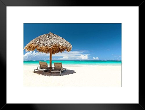 Poster Foundry Beach Chairs Under Umbrella On Beautiful Sand Beach Photo Art Print Matted Framed Wall Art 26x20 inch