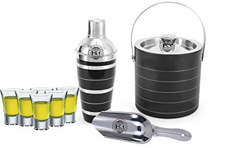 King International 100% Stainless Steel Bar Set | Bar Tools | Bar Accessories Set Of 9 Pieces Includes 6 Shot Glasses | Ice Bucket | Cocktail Shaker | Ice Picker | by King International
