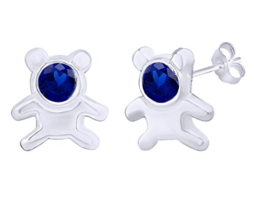 Ring 14k Teddy Bear (Mothers Gift Simulated Blue Sapphire Cute Teddy Bear Stud Earrings 14K White Gold Over Sterling Silver)