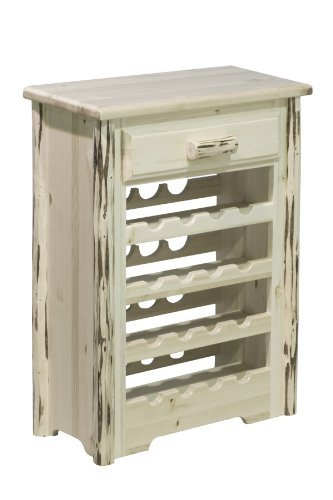 Montana Wood Cabinet - Montana Woodworks Collection Wine Cabinet, Clear Lacquer Finish