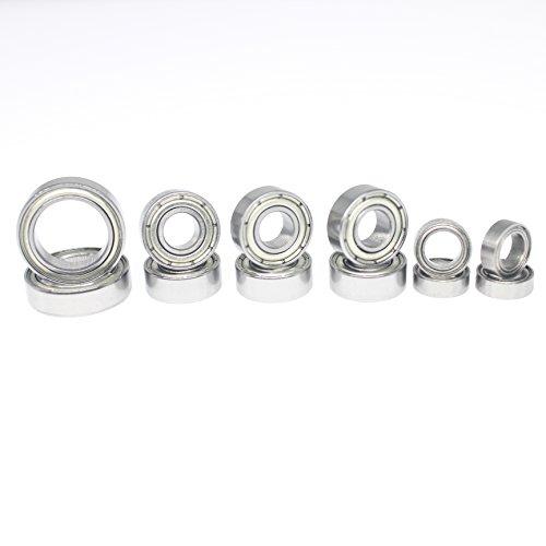 Hobbypark 12PCS Metal Shielded Ball Bearings Kit 10x15x4mm (2) 5x11x4mm(6) 5x8x2.5mm(4) for 1/10 Traxxas Slash 4x4 Replacement Parts