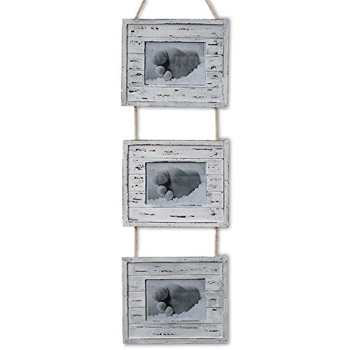 Cheap Whole House Worlds The Cape Cod Rustic Rope Triple Photo Frame, 3 in 1, Reclaimed Barn Wood Style MDF Wood, Distressed White, Weathered Black Undertones and Natural, For 3 1/2 x 5 1/8â? Prints, By