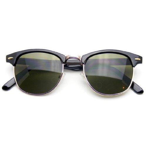 Emblem Eyewear Vintage Inspired Classic Half Frame Horned Rim Sunglasses (Black Gold) (Sunglasses Black Frame Inspired)