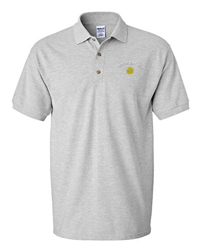 Custom Text Embroidered Sunny Volleyball Men's Adult Button-End Spread Short Sleeve Cotton Polo Shirt Golf Shirt - Oxford Grey, 2X Large ()