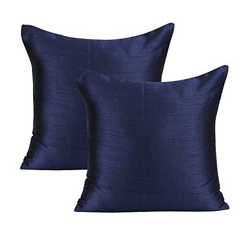 The White Petals Dark Blue Euro Sham (Set of 2 Covers, Faux Raw Silk, Dark Blue, 26x26 ()