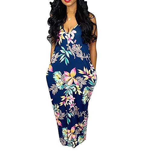 - Womens Spaghetti Strap Dress Summer - Casual Loose Floral Beach Cover Up Plus Size Long Maxi Dresses with Pocket Navy Medium