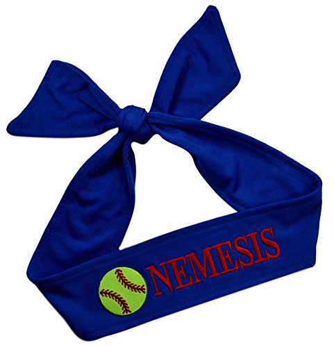 Funny Girl Designs Softball TIE Back Headband Personalized with The Embroidered Name of Your Choice