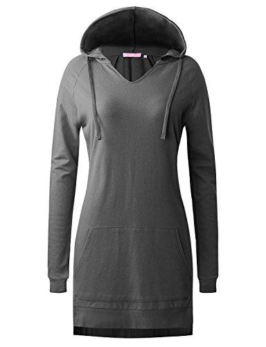 Regna X Women's Long Sleeve Raglan v-Neck Active Hoodie Dress With Drawstring Grey M (Ladies Raglan Hoodie)